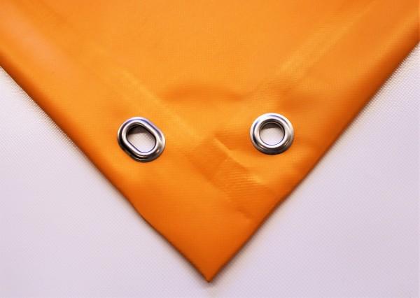 PVC matt mit Saum und Ovalösen alle 50cm, orange hell