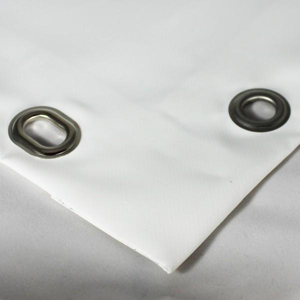 PVC matt mit Saum und Ösen alle 100cm, weiß