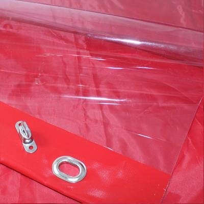 PVC transparent mit farbigem Saum und Ovalösen mit Drehwirbeln alle 50cm, inkl. Drehwirbel