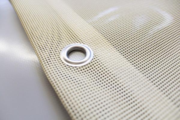 PVC Netz mit Saum und Ösen alle 50cm, beige