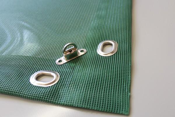 PVC Netz mit Saum und Ovalösen alle 50cm, moosgrün, inkl. Drehwirbel